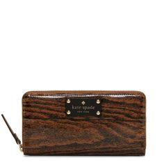 kate spade | knock on wood lacey wallet. Printed coated poplin with 14k light gold plated hardware.
