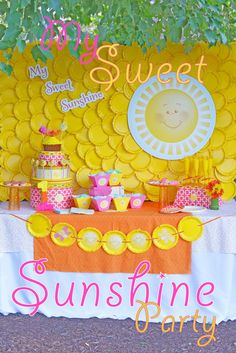 My Sweet Sunshine Party | CatchMyParty.com This is so clever! zit could be a gorgeous, bright and cheery baby shower. LOVE the yellow plastic plates!!!  clever!