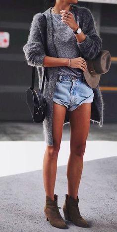 grey cardigan + marled tee + rolled denim shorts