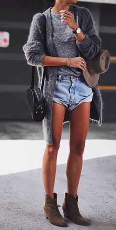grey cardigan + marled tee + rolled denim shorts www.thefashionhour.com