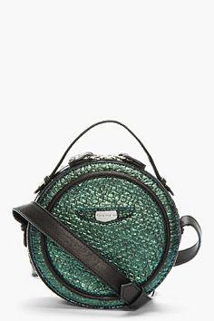 CARVEN Blue Iridescent Textured Round Shoulder Bag for women | SSENSE. bag, сумки модные брендовые, bags lovers, http://bags-lovers.livejournal
