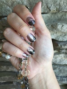 Jamberry Nails! Rose Gold Sparkle with Black Lace trimmed into French Tips! #RoseGoldSparkleJN #BlackLaceJN #Jamberry