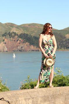 Pink Palm Print Maxi Dress, San Francisco, Golden Gate Bridge, Travel, Golden Gate Lookout