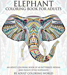 Elephant Henna Paisley Art Adult Coloring Book