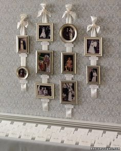 Hanging pictures with ribbon