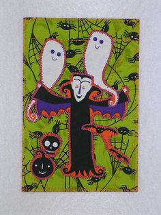 Halloween Quilted Appliqued Fabric Postcard SALE 5.00 each. A small gift in a card.. $5.00, via Etsy.
