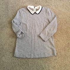 J. Crew 3/4 sleeve sweater Great light sweater! It has a Peter Pan collar and zipper in the back. J. Crew Sweaters