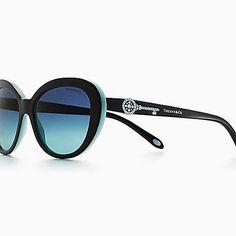Óculos de sol estilo oval Tiffany Keys em acetato preto e Tiffany Blue.