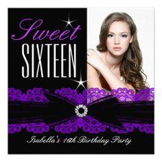 Sweet Sixteen Sweet 16 Purple Lace Black 2b