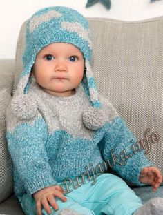 Пуловер и шапочка (д) 14 и 15*111 Phildar №4895 Knitting For Kids, Baby Knitting Patterns, Baby Patterns, 4 Kids, Children, Kids And Parenting, Knitted Hats, Couture, Catalogue