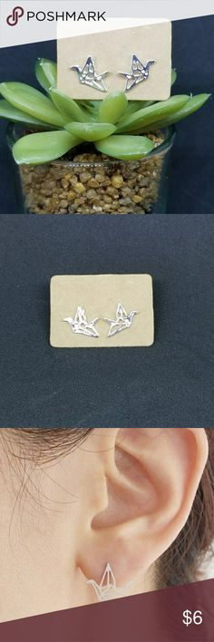 Origami Crane Earrings Super cute Japanese origami cranes made with a nickel- free alloy. Hypoallergenic and come with a free gift! Please ask any questions prior to purchase. Jewelry Earrings