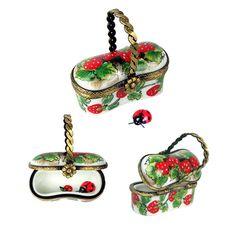 Limoges - Strawberry Basket w/ a little Ladybug inside. X ღɱɧღ