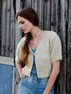 d65cbef436335 Knit this womens cropped cable and textured cardigan from Summer Textures