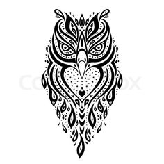 Stock vector of 'Decorative Owl. Tribal pattern. Ethnic tattoo. Vector illustration.'
