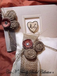 Wedding Guest book / Burlap / Rustic by cuteNtrendy