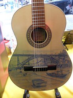 Guitarra pintada à mão com a ribeira do Porto e ponte D. Luís Painted Guitars, Guitar Painting, Music Instruments, Ideas, Port Wine, Guitars, Musical Instruments, Thoughts