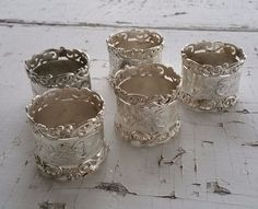 Set of 5 Beautiful Vintage Matching Silverplate Napkin Rings