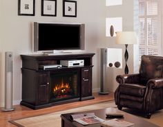 "Pasadena Home Theater provides audio/video component and media storage, surrounding a 28"" ClassicFlame Electric Fireplace Insert. Pasadena comes with 3 door inset options: a set beveled glass, framed wood and speaker cover door panel insets. Available in 3 finishes."