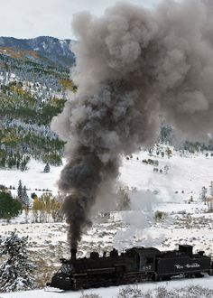 Steam train with snow & fall colors, Colorado