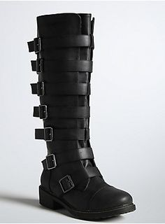 """<p>This is one unique tall boot that will stamp out the competition. The boots are constructed with textured black faux leather; multiple buckle straps wrap around the style, lending an industrial feel.</p>  <p></p>  <p>Wide calf fit by size: 7 fits up to 16.85""""</p>  <p>8 - 17.32""""</p>  <p>9 - 17.80""""</p>  <p>10 - 18.27""""</p>  <p>11 - 18.74""""</p>  <p>12 - 19.21""""</p>  <p>13 - 19.69""""</p>  <ul> <li>1.5"""" heel</li> <li>Man-made materials</li> <li>Impor..."""