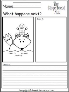 Free Gingerbread Man drawing and writing activity.  What happens next?