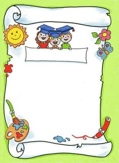 Page Borders Design, Border Design, Borders And Frames, Borders For Paper, Orla Infantil, School Border, School Clipart, Kindergarten Graduation, School Frame