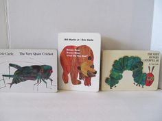 Eric Carle Books - Set of 3 -The Very Quiet Cricket, The Very Hungry Caterpillar, Brown Bear Brown Bear, What Do You See? by CellarDeals on Etsy