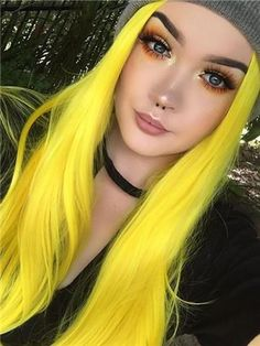 Beautiful bright yellow hair, its stunning! Not many people can make yellow hair look this good! Tone Yellow Hair, Yellow Hair Color, Hair Dye Colors, Cool Hair Color, Bright Yellow, Yellow Art, Yellow Eyes, Straight Lace Front Wigs, Synthetic Lace Front Wigs
