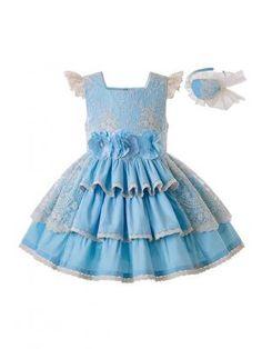 Girls Summer Blue Flower Wedding Party Dress With Layered Lace + Handmade Headband Girls Formal Dresses, Blue Dresses, Pink Dress, Lace Dress, Bebe 1 An, Boys Dress Shoes, Sunflower Dress, Green Girl, Vestidos