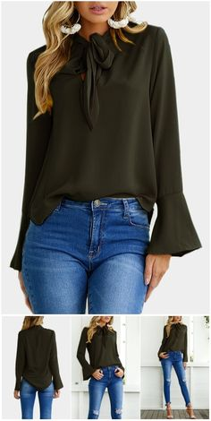 Blackish Green Self-tie Design Bell Sleeves Chiffon Blouse US$10.99