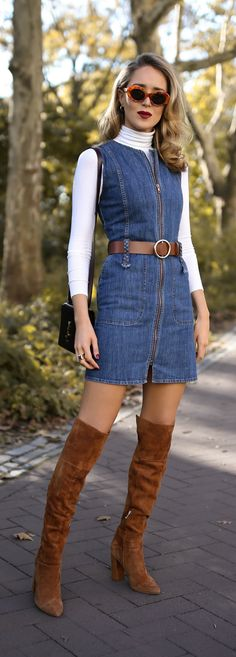What to wear to a fall bonfire //  Sleeveless zip-up denim dress, white layering turtleneck, brown suede over-the-knee boots, brown leather circle belt, burgundy handbag, burgundy leather moto jacket with faux fur and cat eye sunglasses {See by Chloe, YSL, Three Dots, classic fall style, fall winter 2017, fall bonfire, classic dressing, fashion blogger, street style}