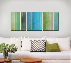 Art featured on HGTV, Abstract Art - Shipping Included - Painting Large 48x20 Green Blue Turquoise Rust Orange Gray Grey Stripes, Modern
