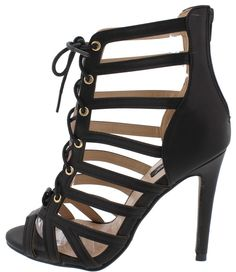 EVY2 BLACK OPEN TOE MULTI CUT OUT LACE UP HEEL ONLY $10.88