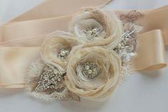 Etsy listing at https://www.etsy.com/listing/178605602/champagne-bridal-sash-wedding-belt