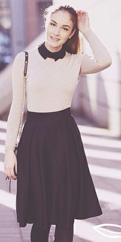 Nude & Black long sleeve top w black midi skirt + sheer black tights to winterize outfit