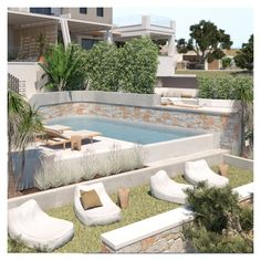 The pool area is located on a lower level, while it is surrounded by built-in seating and sunbeds. The planting acts as a divider, providing freshness and shade. Outdoor Living Rooms, Outdoor Spaces, Outdoor Decor, Swimming Pool Designs, Swimming Pools, Built In Seating, Exterior Design, Planting, Divider