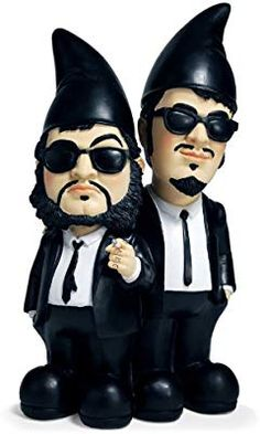 Let Jake and Elwood Blues decorate and protect your garden with The Blues Brothers Gnome Edition. They look just like the real pair, only smaller, with pointy Funny Garden Gnomes, Funny Gnomes, Gnome Garden, Garden Art, Garden Ideas, Garden Paths, The Blues Brothers, Gnome House, Fairy Houses