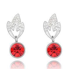 Bamboo Leaves Design Austrian Crystal Pendant Earrings - Red