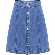 Etre Cecile  - A-line Denim Skirt ($230) ❤ liked on Polyvore featuring skirts, bottoms, blue skirt, a line denim skirt, a line skirt, button front denim skirt and knee length denim skirt