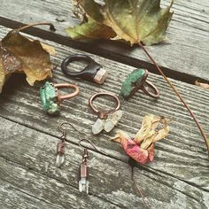Happy fall!  New rings and earrings coming soon  #pebbleandstone #quarts #turquoise #jewelry #eugene #oregon #rings #raw #crystals