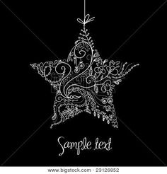 Black and White Christmas Star illustration