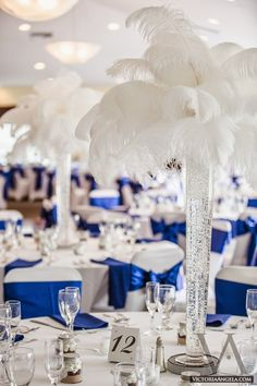 Jennifer and Ryan met through mutual friends. The wedding took place on December and the bride and groom chose a theme . Blue Wedding Receptions, Wedding Ceremony Decorations, Wedding Centerpieces, Wedding Table, Table Decorations, Mimosa Party, Cobalt Wedding, Oriental Wedding, The Bride