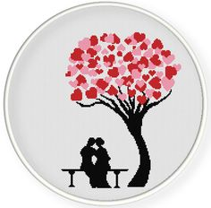 INSTANT DOWNLOAD,Free shippingCounted Cross-Stitch PDF,Lovers and heart tree,valentine's day, wedding,zxxc0569
