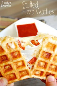 Pizza dough, cheese and toppings cooked in a waffle iron. Yummy.