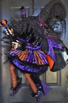 """RESERVED LISTING"" For Wanda ONLY***Fall Halloween Wreath-""THE FLYING WITCH"""
