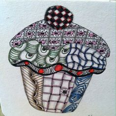 Zentangle cupcake. First one I added color to.
