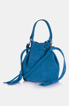 Topshop 'Small' Suede Crossbody Bag in blue