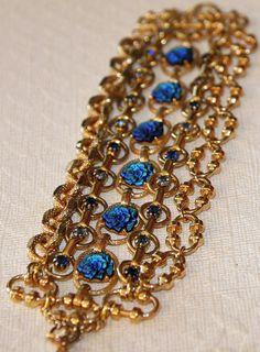 Cobalt Blue Carved Flower Rhinestone & Gold by RedEggBoutique, $59.00