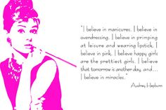 Audrey Hepburn  I believe in pink  36 x 24 by SusanNewberryDesigns, $65.00