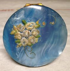 Vintage 1920s 1930s Pearl Blue Art Nouveau Small Lipstick Compact Mirror